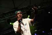Rapper Tyler The Creator performs with Earl Sweatshirt onstage during day 1 of the 2013 Coachella Valley Music & Arts Festival at the Empire Polo Club on April 12, 2013 in Indio, California.
