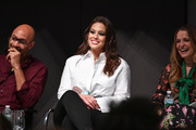 "(L-R) Sir John, Ashley Graham, and Leah Wyar attend Cocktails and a Conversation with the Stars of Lifetime's ""American Beauty Star"" featuring host and executive producer Ashley Graham, mentor Sir John and judges Christie Brinkley and Leah Wyar on January 17, 2019 in New York City."