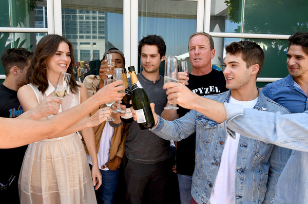 Comic-Con International 2017 - 'Teen Wolf' Backstage Photo Op [teen wolf,social group,event,youth,friendship,fun,party,photography,drink,leisure,team,actors,cody christian,tyler posey,shelley hennig,dylan obrien,l-r,san diego convention center,comic-con international,season]