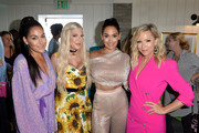 (L-R) Brie Bella, Tori Spelling, Nikki Bella, and Jennie Garth attend Cold Stone Creamery Backstage at 2019 Teen Choice Awards on August 11, 2019 in Hermosa Beach, California.