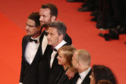"(2L-R) Actor Tomasz Kot, director Pawel Pawlikowski, actress Joanna Kulig, actor Borys Szyc, producer Tanya Seghatchian and producer Ewa Puszczynska  attend the screening of ""Cold War (Zimna Wojna)"" during the 71st annual Cannes Film Festival at Palais des Festivals on May 10, 2018 in Cannes, France."