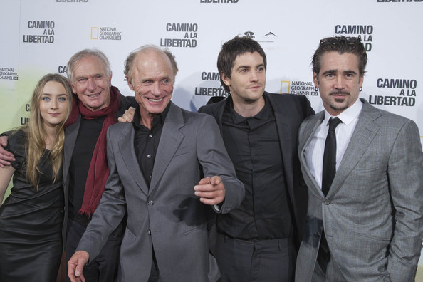 "(L-R) Saorise Ronan, Peter Weir, Ed Harris, Jim Sturgess and Colin Farrel attend ""The Way Back"" premiere at Capitol cinema on December 9, 2010 in Madrid, Spain."