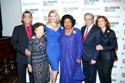 (L-R) Tadashi Shoji, Ruth Finley, Andrea Powell, Martina Arroyo, Samuel Waxman and Marion Waxman attend Collaborating For A Cure 16th annual benefit dinner and auction at Park Avenue Armory on November 21, 2013 in New York City.