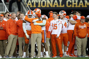 Head coach Dabo Swinney of the Clemson Tigers celebrates with his players late in the game of his teams 44-16 win over the Alabama Crimson Tide in the CFP National Championship presented by AT&T at Levi's Stadium on January 7, 2019 in Santa Clara, California.