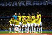 Colombia pose for  a team photo prior to the 2018 FIFA World Cup Russia Round of 16 match between Colombia and England at Spartak Stadium on July 3, 2018 in Moscow, Russia.