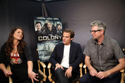 """(L-R) TV Personality Camille Ford, actor Kevin Zegers, and director Jeff Renfroe attend """"The Colony"""" at The Movies On Demand Lounge during Comic-Con International 2013 at Hard Rock Hotel San Diego on July 19, 2013 in San Diego, California."""