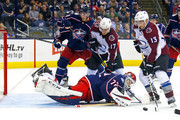 Alexander Kerfoot #13 of the Colorado Avalanche attempts to get a shot off on Sergei Bobrovsky #72 of the Columbus Blue Jackets during the third period on October 9, 2018 at Nationwide Arena in Columbus, Ohio. Columbus defeated Colorado 5-2.