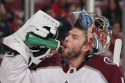 Goaltender Semyon Varlamov #1 of the Colorado Avalanche takes a drink during a break in action against the Florida Panthers at the BB&T Center on December 9, 2017 in Sunrise, Florida. The Avalanche defeated the Panthers 7-3.