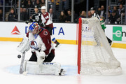 Semyon Varlamov #1 of the Colorado Avalanche blocks a shot on goal during the second period of a game against the Los Angeles Kings at Staples Center on December 21, 2017 in Los Angeles, California.
