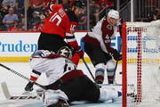 Jimmy Hayes #10 of the New Jersey Devils scores a powerplay goal at 2:52 of the second period against Jonathan Bernier #45 of the Colorado Avalanche at the Prudential Center on October 7, 2017 in Newark, New Jersey.