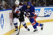 Matt Hunwick #44 of the New York Rangers checks Daniel Briere #48 of the Colorado Avalanche at Madison Square Garden on November 13, 2014 in New York City. The Avalanche defeated the Rangers 4-3 in the shootout.