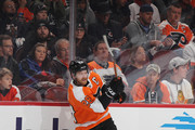 Claude Giroux #28 of the Philadelphia Flyers skates against the Colorado Avalanche at the Wells Fargo Center on October 22, 2018 in Philadelphia, Pennsylvania. The Avalanche defeated the Flyers 4-1.