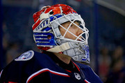 Sergei Bobrovsky #72 of the Columbus Blue Jackets warms up prior to the start of the game against the Colorado Avalanche on October 9, 2018 at Nationwide Arena in Columbus, Ohio.