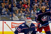 Sergei Bobrovsky #72 of the Columbus Blue Jackets follows the puck during the game against the Colorado Avalanche on October 9, 2018 at Nationwide Arena in Columbus, Ohio. Columbus defeated Colorado 5-2.
