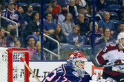 Sergei Bobrovsky #72 of the Columbus Blue Jackets follows the puck during the game against the Colorado Avalanche on October 9, 2018 at Nationwide Arena in Columbus, Ohio.