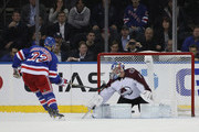 Kevin Shattenkirk #22 of the New York Rangers celebrates his shootout goal against Semyon Varlamov #1 of the Colorado Avalanche at Madison Square Garden on October 16, 2018 in New York City. The Rangers defeated the Avalanche 3-2 in the shootout.