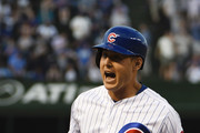 Anthony Rizzo #44 of the Chicago Cubs runs the bases after hitting a home run in the first inning against the Colorado Rockies on May 1, 2018 at Wrigley Field  in Chicago, Illinois.