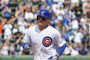 Anthony Rizzo #44 of the Chicago Cubs runs the bases after hitting a solo home run in the 4th inning against the Colorado Rockies at Wrigley Field on May 2, 2018 in Chicago, Illinois.