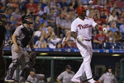 Ryan Howard #6 of the Philadelphia Phillies hits a grand slam in the bottom of the fifth inning against the Colorado Rockies at Citizens Bank Park on August 12, 2016 in Philadelphia, Pennsylvania. The Phillies defeated the Rockies 10-6.