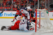 Stefan Noesen #23 of the New Jersey Devils misses a scoring chance during the second period against Sergei Bobrovsky #72 and Zach Werenski #8 of the Columbus Blue Jackets on February 20, 2018 at Prudential Center in Newark, New Jersey.