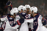 Brandon Dubinsky #17 of the Columbus Blue Jackets celebrates with teammates after scoring a goal against the Philadelphia Flyers during the third period at Wells Fargo Center on March 13, 2017 in Philadelphia, Pennsylvania.
