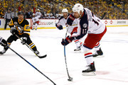 Brandon Dubinsky #17 of the Columbus Blue Jackets takes a first period shot while playing the Pittsburgh Penguins in Game Two of the Eastern Conference First Round during the 2017 NHL Stanley Cup Playoffs at PPG Paints Arena on April 14, 2017 in Pittsburgh, Pennsylvania.