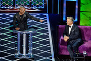 Chris Redd (L) and Alec Baldwin react onstage during the Comedy Central Roast of Alec Baldwin at Saban Theatre on September 07, 2019 in Beverly Hills, California.