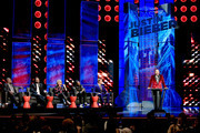 Comedian Jeff Ross (far R) speaks as (L-R) comedians Hannibal Buress and Chris D'Elia, TV personality Martha Stewart, rapper Snoop Dogg, and honoree Justin Bieber look on onstage at The Comedy Central Roast of Justin Bieber at Sony Pictures Studios on March 14, 2015 in Los Angeles, California. The Comedy Central Roast of Justin Bieber will air on March 30, 2015 at 10:00 p.m. ET/PT.