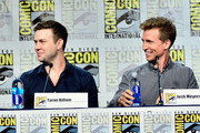 """(L-R) Actors Taran Killam and Josh Meyers speak on the panel for Hulu's Original """"The Awesomes"""" during Comic-Con for """"The Awesomes"""" on July 26, 2014 in San Diego, California."""