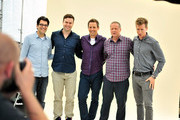 "(L-R) Head Writer Dan Mintz, actor Taran Killam, actor Seth Meyers, Co-Creator/Writer/Executive Producer Michael Shoemaker, and actor Josh Meyers pose at a photobooth to promote Hulu's Original ""The Awesomes"" during Comic-Con for ""The Awesomes"" on July 26, 2014 in San Diego, California."
