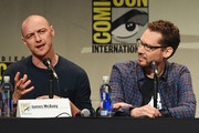 "Actor James McAvoy (L) and director Bryan Singer from ""X-Men: Apocalypse"" speak onstage at the 20th Century FOX panel during Comic-Con International 2015 at the San Diego Convention Center on July 11, 2015 in San Diego, California."