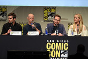 "(L-R) Actor Nicholas Hoult, actor James McAvoy, director Bryan Singer and actress Jennifer Lawrence from ""X-Men: Apocalypse"" speak onstage at the 20th Century FOX panel during Comic-Con International 2015 at the San Diego Convention Center on July 11, 2015 in San Diego, California."