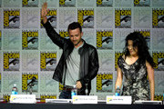 """Actors Eddie Kaye Thomas (L) and Jadyn Wong speak onstage at the CBS TV Studios' panel for """"Scorpion"""" during Comic-Con International 2015 at the San Diego Convention Center on July 9, 2015 in San Diego, California."""