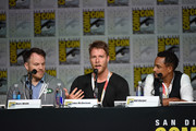 "(L-R) Director Marc Webb, actors Jake McDorman and Hill Harper speak onstage at the CBS TV Studios' panel for ""Limitless"" during Comic-Con International 2015 at the San Diego Convention Center on July 9, 2015 in San Diego, California."