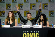 """(L-R) Actors Elyes Gabel, Katharine McPhee and Jadyn Wong speak onstage at the CBS TV Studios' panel for """"Scorpion"""" during Comic-Con International 2015 at the San Diego Convention Center on July 9, 2015 in San Diego, California."""