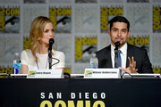 "Actress Laura Regan (L) and actor Wilmer Valderrama speak onstage at the ""Minority Report"" panel during Comic-Con International 2015 at the San Diego Convention Center on July 10, 2015 in San Diego, California."