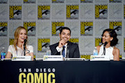 "(L-R) Actress Laura Regan, actor Wilmer Valderrama and actress Meagan Good speak onstage at the ""Minority Report"" panel during Comic-Con International 2015 at the San Diego Convention Center on July 10, 2015 in San Diego, California."