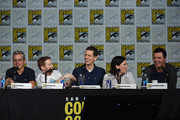 (L-R) Writer Rich Appel, actor Seth Green, writer Steve Callaghan, actress Alex Borstein and filmmaker Seth MacFarlane speak onstage at the Seth MacFarlane Animation Block during Comic-Con International 2015 at the San Diego Convention Center on July 11, 2015 in San Diego, California.