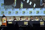 """(L-R) Moderator Jarett Wieselman, actress Kat Graham, producer Caroline Dries, actor Ian Somerhalder, actress Julie Plec, actor Paul Wesley, actress Candice Accola and actor Michael Malarkey speak onstage at the """"The Vampire Diaries"""" panel during Comic-Con International 2015 at the San Diego Convention Center on July 12, 2015 in San Diego, California."""