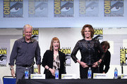 "(L-R) Director James Cameron, producer Gale Anne Hurd, actors Sigourney Weaver and Bill Paxton attend the ""Aliens: 30th Anniversary"" panel during Comic-Con International 2016 at San Diego Convention Center on July 23, 2016 in San Diego, California."