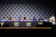 "(L-R) Actors Jared Gilmore, Rebecca Mader, Emilie de Ravin, Josh Dallas, Lana Parrilla, Jennifer Morrison, Colin O'Donoghue, writer/producers Adam Horowitz and Edward Kitsis, and moderator Yvette Nicole Brown attend the ""Once Upon A Time"" panel during Comic-Con International 2016 at San Diego Convention Center on July 23, 2016 in San Diego, California."