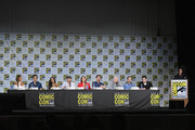 "(L-R) Actors Gabrielle Anwar, Andrew J. West, Dania Ramirez, Robert Carlyle, Lana Parrilla, and Colin O'Donoghue, writer/producers David H. Goodman, Edward Kitsis and Adam Horowitz, and moderator Yvette Nicole Brown attend ABC's ""Once Upon A Time"" panel during Comic-Con International 2017 at San Diego Convention Center on July 22, 2017 in San Diego, California."