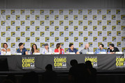 "(L-R) Actors Gabrielle Anwar, Andrew J. West, Dania Ramirez, Robert Carlyle, Lana Parrilla, and Colin O'Donoghue, writer/producers David H. Goodman, Edward Kitsis and Adam Horowitz attend ABC's ""Once Upon A Time"" panel during Comic-Con International 2017 at San Diego Convention Center on July 22, 2017 in San Diego, California."