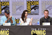 """(L-R) Actors Adam Baldwin, Bridget Regan and Eric Dane at TNT's """"The Last Ship"""" with Eric Dane: panel and exclusive sneak peek for season 4 during Comic-Con International 2017 at San Diego Convention Center on July 23, 2017 in San Diego, California."""