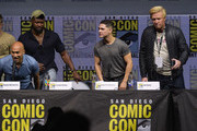 """(L-R) Keegan-Michael Key, Trevante Rhodes, Augusto Aguilera, and Jake Busey speak onstage during the 20th Century Fox's """"The Predator"""" panel during Comic-Con International 2018 at San Diego Convention Center on July 19, 2018 in San Diego, California."""