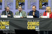 "(L-R) Vince Gilligan, Peter Gould, Bob Odenkirk, and Rhea Seehorn speak onstage during the ""Breaking Bad"" 10th Anniversary Celebration during Comic-Con International 2018 at San Diego Convention Center on July 19, 2018 in San Diego, California."
