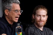 """Rich Appel (L) and Seth Green speak onstage at the """"American Dad"""" and """"Family Guy""""  Panel during Comic-Con International 2018 at San Diego Convention Center on July 21, 2018 in San Diego, California."""