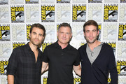 (L-R) Paul Wesley, Kevin Williamson and James Wolk of 'Tell Me a Story' attend CBS Television Studios Press Line during Comic-Con International 2018 at Hilton Bayfront on July 19, 2018 in San Diego, California.