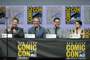 "(L-R) David Leitch, Paul Wernick, Rhett Reese, and Brianna Hildebrand speak onstage at the ""Deadpool 2"" panel during Comic-Con International 2018 at San Diego Convention Center on July 21, 2018 in San Diego, California."