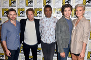 (L-R) Cameron Welsh, Shaun Sipos, Ann Ogbomo, Cameron Cuffe, and Wallis Day attend the 'Krypton' Press Line during Comic-Con International 2018 at Hilton Bayfront on July 21, 2018 in San Diego, California.